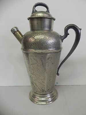 Antique Nickel Silver Hand Hammered Silver Plate Bar Cocktail Shaker Barware