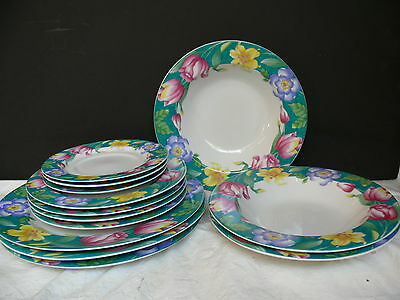 Vtg Lot 13 Pieces American Atelier Flower Garden 3382 China Dishes Plates Cups