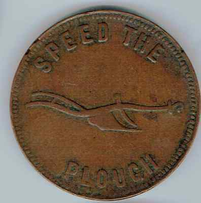 Prince Edward Island Half Penny Token Speed The Plough,success To The Fishery