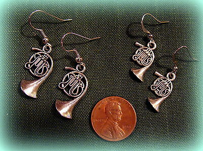 TWO PAIR! FRENCH HORN EARRINGS Jewelry ANTIQUE Art Deco Vintage VICTORIAN Style