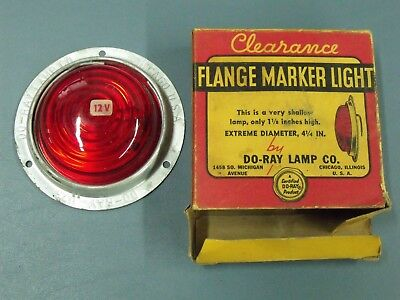 Vintage 12v Do-Ray RED Glass Flange Clearance Brake Turn Marker Lamp Light 1173