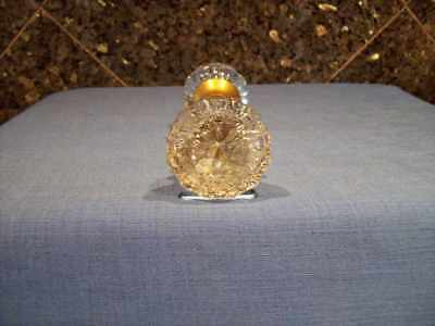 2 Knobs Rod Set Vintage 12 Pt Round Flower Center Crystal Glass Brass Door Knobs