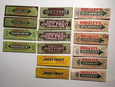 Sixteen Different Vintage WRIGLEY'S Chewing Gum Wrappers~Three Flavors