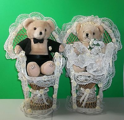 """Plush 12"""" Teddy Bear Bride And Groom With Decorated Wicker Chairs Adorable!"""