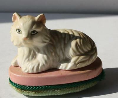 White Persian Cat-Kitten Figurine on top of a Vintage Shoe Shiner Brush-Ceramic