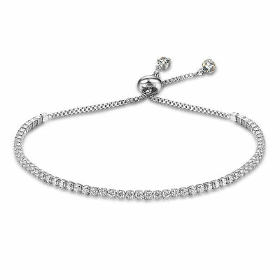 Women Fashion Rhinestone Crystal Tennis Bracelet Adjustable Bangle Cuff Jewelry