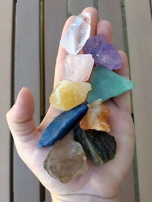 GemFarmer QS: Spectrum Quartz Collection 9 Rough Raw Crystals Chakra Stones Kit