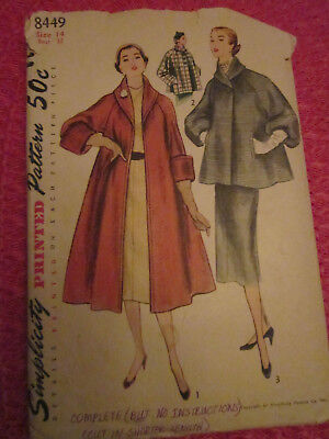 VINTAGE 1950s (?) MISSES FLARED COAT & TOPPER PATTERN Simplicity 8449 SZ 14 RARE