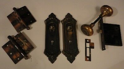 Antique Brass Victorian Door Knobs  ~ Complete Set