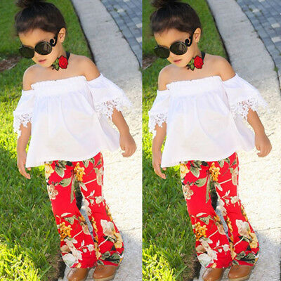 Kids Baby Girl Lace Floral Off Shoulder Tops Pants Outfits Set Clothes US Seller