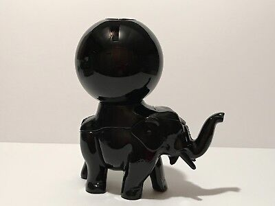 Rare Co-Operative Flint Glass Black Elephant Ivy Witches Ball Co-Op Depression