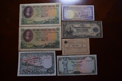 7 Vintage Mixed Foreign World Currency Paper Money