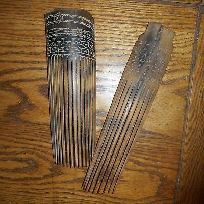 Vintage Antique Lot of 2 African Figural Wooden Wood Hand Carved Combs