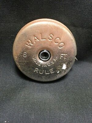 Vintage WALSCO Steel Tape Measure Retractable 6ft Rule Pocket Made in USA