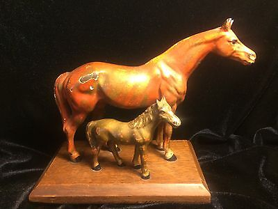 Hubley Cast Iron Horse & Foal Paperweight Statue Sculpture Old Vintage