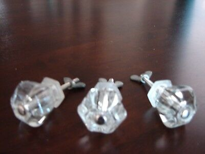 Antique Vintage Lot Of 3 Clear Glass Cabinet Knobs Drawer Pulls