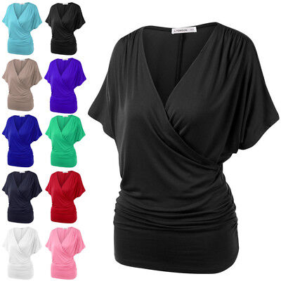 Ladies Women's Wrap Over V Neck Stretchy Batwing Tops T-Shirts Shirts Plus Size