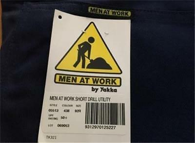 New MEN AT WORK BY YAKKA Navy Drill Cargo Short mens size 92R 97R 107R FREE POST