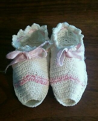 Antique Handmade Crochet Baby Girl Open Toe Booties Shoes Ivory & Pink w/ Ribbon