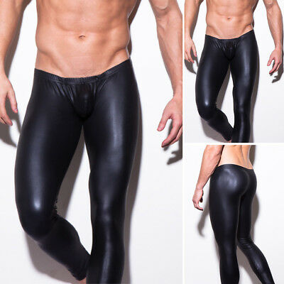 Sexy Men Faux Leather Leggings Wet Look Long Pants Slim Solid Trousers Nightwear