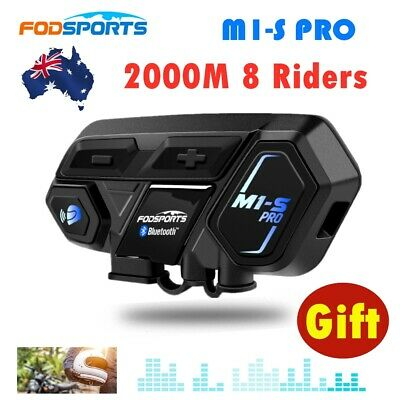 2000M 8 Riders Motorcycle Bluetooth Intercom Interphone Helmet Headset M1-S Pro