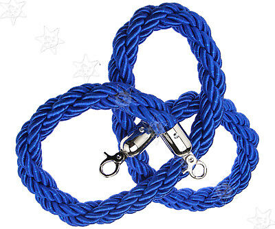 Blue Twisted Barrier 1.5M Rope Queue Divider Crowd Control Stanchion