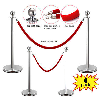 4Pcs Stanchion Post/Set/Rope Stainless Steel Retractable Queue Barrier Silver