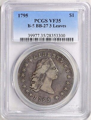 1795 Flowing Hair Draped Bust Silver Dollar $1 Coin. PCGS VF35 scarce!
