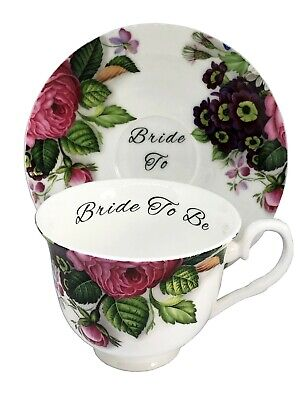 Blue//Pink//Yellow Rose BN PERSONALISED Boxed Vintage Style Teacup and Saucer