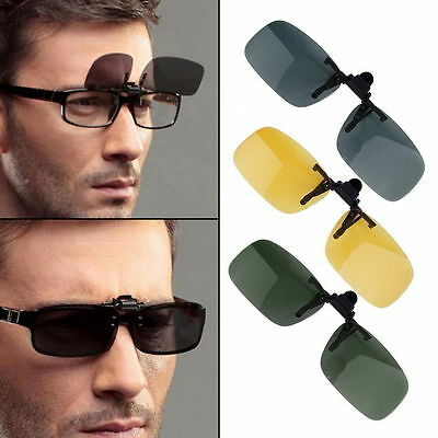 Driving Night Vision Clip-on Flip-up Lens Sunglasses Glasses Cool Eyewear TO