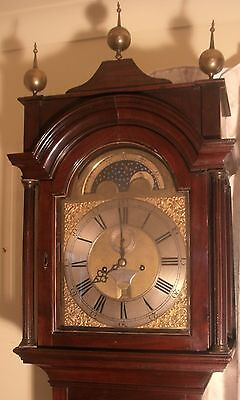 "Antique "" London"" Mahogany Brass Moon Dial Longcase / Grandfather Clock"