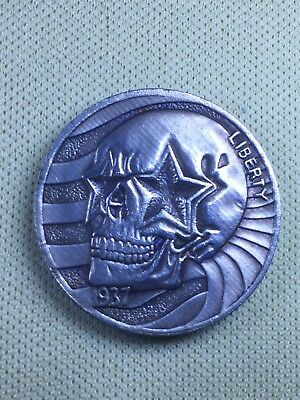 Patriotic skull, great looking hobo nickel, fantasy coin, Pressed copper or zinc