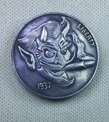 Cigar smoking devil, Great looking,Fantasy hobo nickel coin,quality Made-Copper