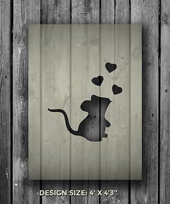 A5 Mouse Heart Mylar Reusable Stencil Airbrush Painting Art Craft DIY Home Decor