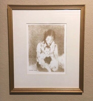 """Raphael Soyer Sepia Lithograph """"Mother and Child""""  Excellent Condition"""