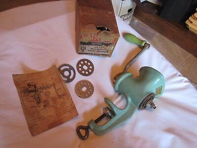 ANTIQUE JADEITE GREEN ENAMEL CAST IRON HARPER MEAT GRINDER TABLE CLAMP Org BOX