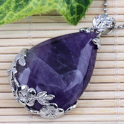 Silver Plated Natural Amethyst Quartz Gemstone Teardrop Stone Pendant Jewelry