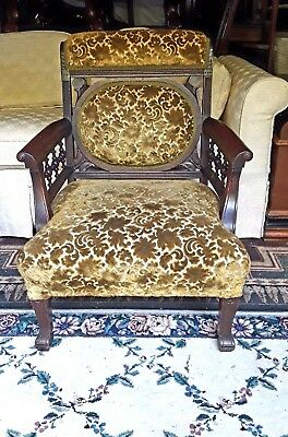 1800's Victorian Eastlake SOLID WALNUT Parlor Chair Hand Carved Butterflies NICE