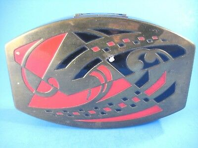 Vintage Scovill Art Deco Box Brass Lid Black and Red Geometric Design