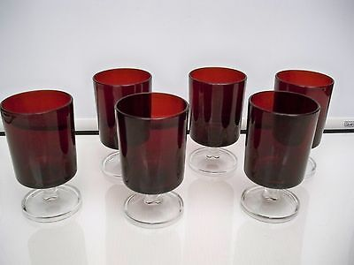 """6 Small Ruby Glass Pedestal Goblets Made In France 4"""" Tall"""