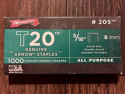 "Arrow Fastener #205 5/16"" T20 Staples 1000"