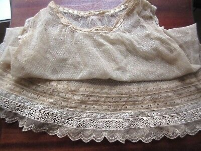 Antique Victorian Edwardian Point D`Esprit Lace Girl Over Dress Shift Large Doll