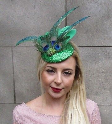 Green Sequin Peacock Statement Feather Fascinator Races Pillbox Hat Vintage 4997