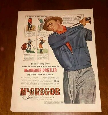 1950's Mag Color Print AD Slammin' Sammy Snead Golf McGregor Drizzler Jacket