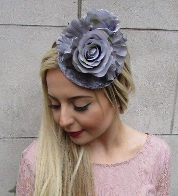Grey Velvet Rose Flower Fascinator Races Wedding Pillbox Hat Hair Vintage 5002