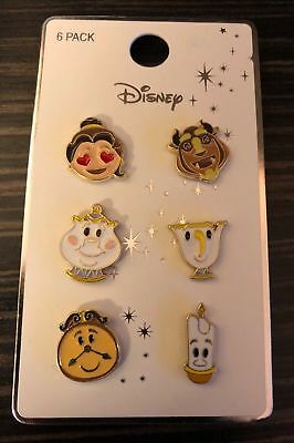 Primark Beauty And The Beast metal 6 pins/badge/pin set emoji/chip/cogsworth NEW