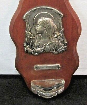 Small Antique  VIntage Wall Hanging Holy Water Font  Religious Art Nouveau lady