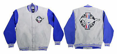 Mustang Jacket Poly-Twill Gray/Blue X-Large | CJ Pony Parts