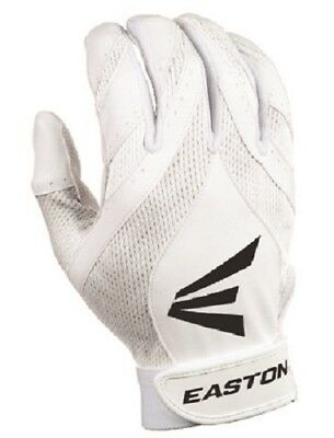 1 pr Easton Synergy II Womens Large Softball Batting Gloves White / White New!