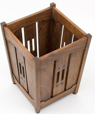 Arts and Crafts, Greene and Greene Style, Brown Mahogany with Ebony Wastebasket